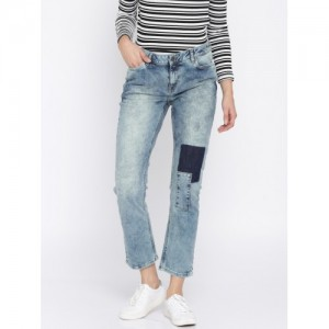 Vero Moda Women Blue Regular Fit Patch Work Denim Stretchable Jeans