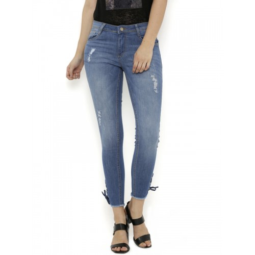 Kraus Jeans Women Blue Skinny Fit Mid-Rise Mildly Distressed Jeans