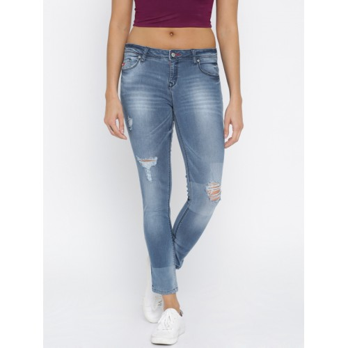 5b85f886 ... Lee Cooper Women Blue Alexi Skinny Fit Low-Rise Mildly Distressed  Stretchable Jeans ...
