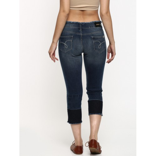 Jealous 21 Women Blue Skinny Fit Mid-Rise Low Distress Stretchable Cropped Jeans