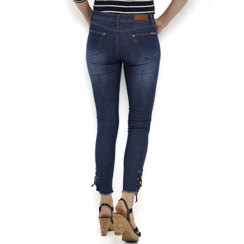 Kraus Jeans Women Blue Skinny Fit Mid-Rise Low Distress Jeans