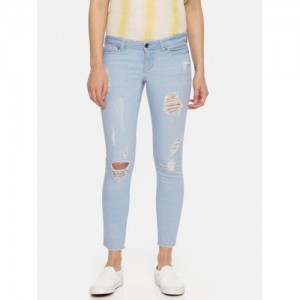 Vero Moda Women Blue Slim Fit Low-Rise Mildly Distressed Stretchable Jeans