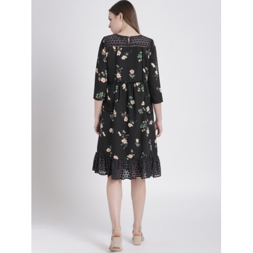 Chemistry Women Black Polyester Floral Printed A-Line Dress