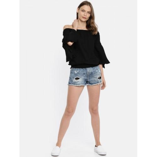 Vero Moda Women Black Solid Bardot Top