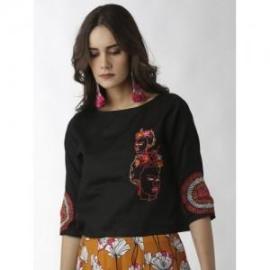 breya Women Black Embroidered Top