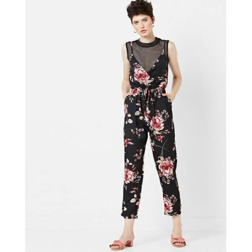 Buy Mela London Floral Print Cropped Jumpsuit With Tie Up Online