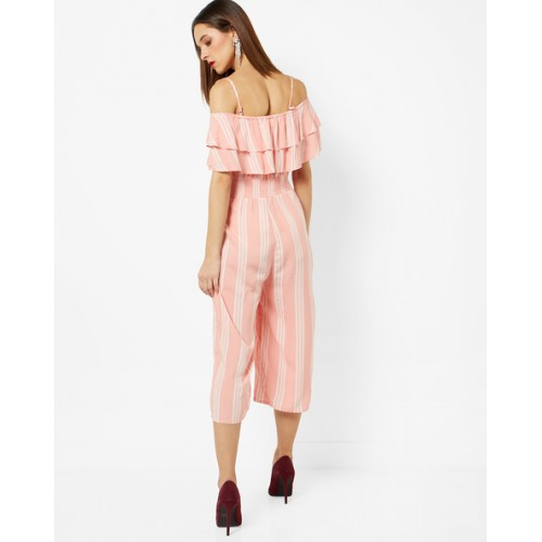 ee55cf37367 Buy INFLUENCE Cold-Shoulder Striped Jumpsuit with Ruffled Overlays ...