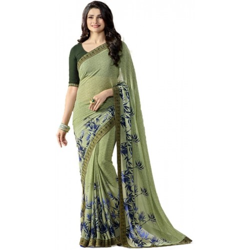 Bombey Velvat Fab Floral Print Daily Wear Georgette Saree(Light Green)