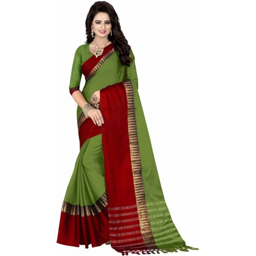 Bombey Velvat Fab Woven Fashion Cotton Silk Saree(Multicolor)