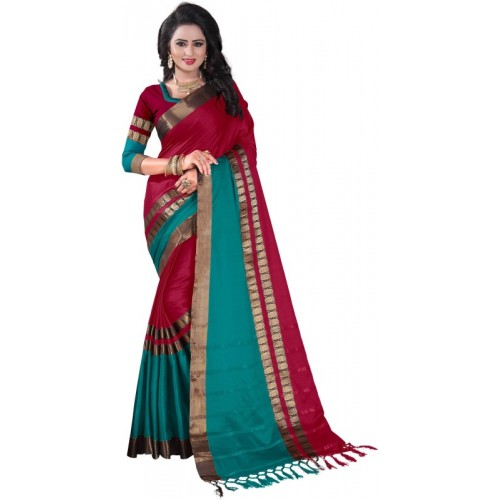 Bombey Velvat Fab Woven Daily Wear Cotton Silk, Poly Silk, Jacquard Saree(Multicolor)
