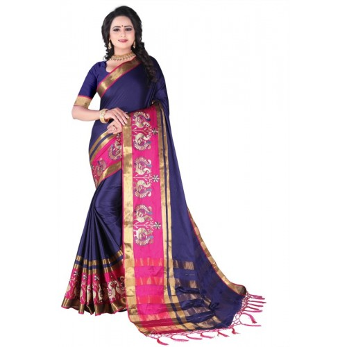 Fancy Fab Solid, Embroidered, Self Design, Embellished, Striped, Checkered, Temple Border Paithani Cotton Silk, Jacquard, Cotton Linen Blend, Silk Saree(Blue, Pink)