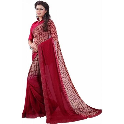 Bombey Velvat Fab Geometric Print, Printed Daily Wear Georgette, Chiffon Saree(Red)