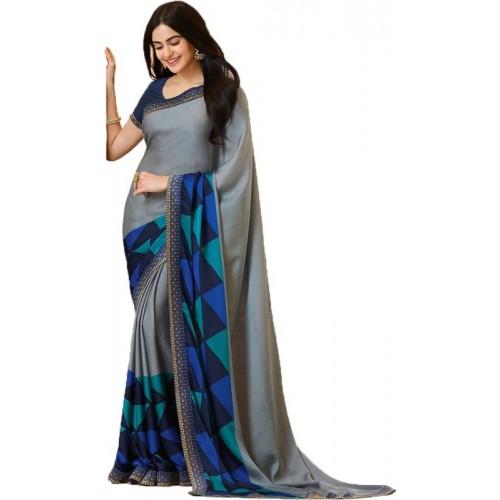 Bombey Velvat Fab Geometric Print Daily Wear Georgette, Chiffon Saree(Multicolor)
