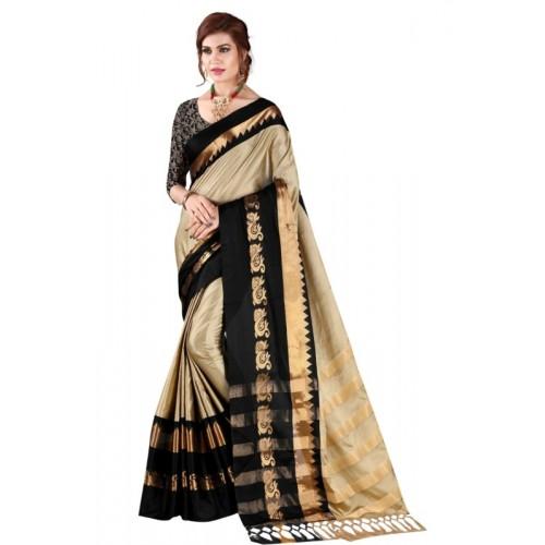 Bombey Velvat Fab Self Design Daily Wear Cotton Silk Saree(Grey, Black)