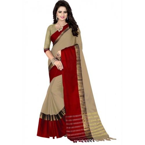 Bombey Velvat Fab Woven, Striped Daily Wear Cotton, Silk, Cotton Silk, Jacquard Saree(Multicolor)
