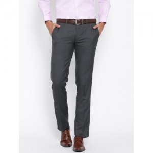 John Players Charcoal Grey Slim Fit Formal Trousers