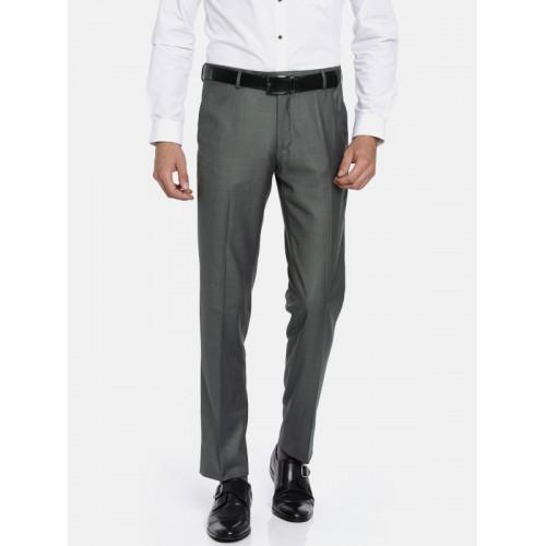 Van Heusen Men Grey Classic Slim Fit Solid Formal Trousers