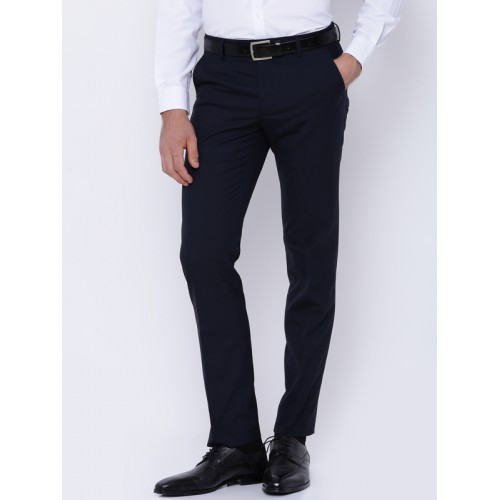 4205d2179cd Buy Black coffee Men Navy Solid Formal Trousers online | Looksgud.in