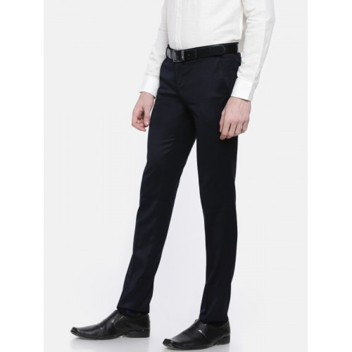 f30c95a1f6d Buy Oxemberg Men Navy Diet Fit Solid Formal Trousers online ...
