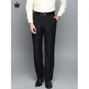 Louis Philippe Men Navy Blue Classic Regular Fit Solid Formal Trousers