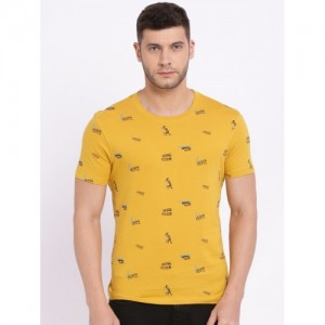 Wrangler Men Mustard Yellow Printed Round Neck T-shirt