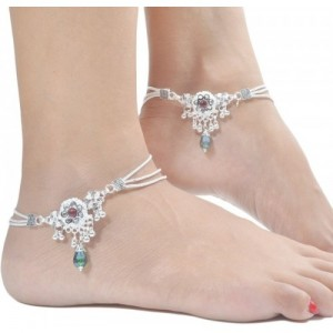 Charms Diva Silver Studded With Green Dangle Alloy Anklet(Pack of 2)