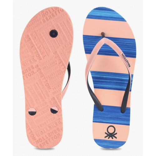 United Colors of Benetton Blue & Pink Rubber Flat Flip Flops