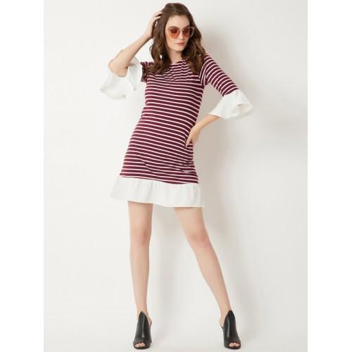 Miss Chase Maroon Cotton Striped Sheath Dress