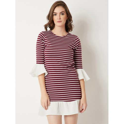 Miss Chase Maroon Cotton Striped Sheath Dress