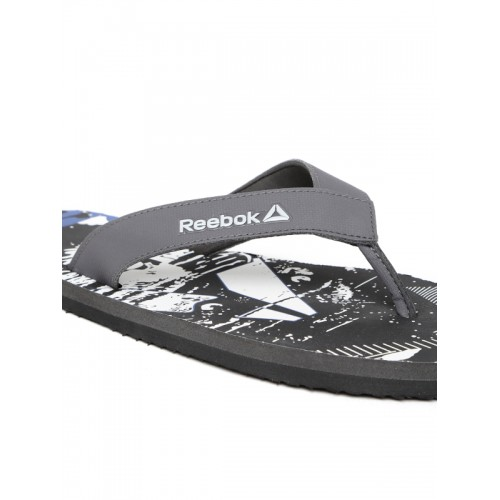 Reebok Men Grey & Black Cash Print Thong Flip-Flops