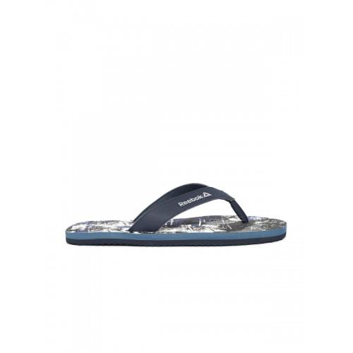 88641fd436de0 Buy Reebok Men Blue   Black Cash Printed Thong Flip-Flops online ...