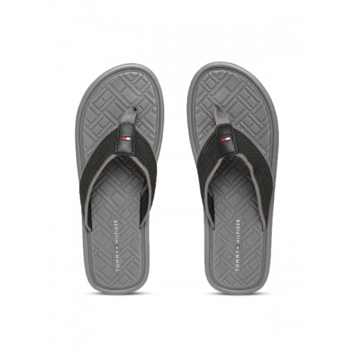 de779b54ce44 Buy Tommy Hilfiger Men Black   Grey Self Design Thong Flip-Flops ...