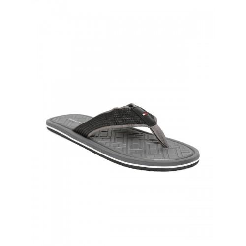 fa33249a8 Buy Tommy Hilfiger Men Black   Grey Self Design Thong Flip-Flops ...
