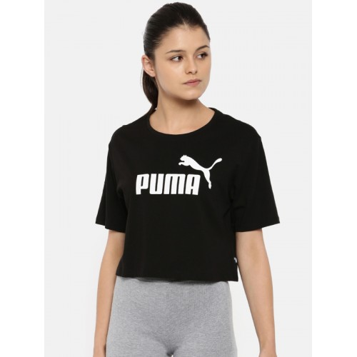 e34b3a13a95 ... Puma Women Black Printed Relaxed Fit ELEVATED ESS Cropped Logo T-Shirt  ...