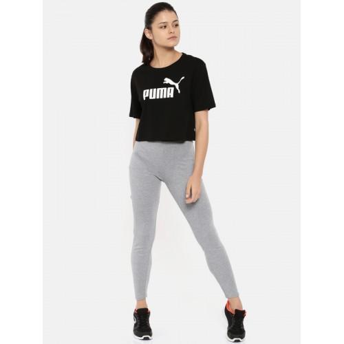 adb0ff8e0bd Puma Women Black Printed Relaxed Fit ELEVATED ESS Cropped Logo T-Shirt ...