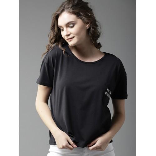Moda Rapido Black Solid Round Neck T-shirt