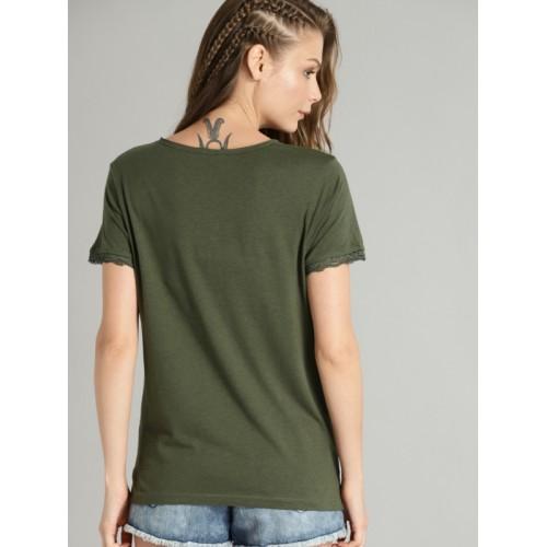 Roadster Women Olive Green Printed V-Neck T-shirt