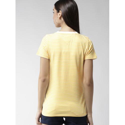 7acc1634 ... Tommy Hilfiger Women White & Yellow Striped Round Neck T-shirt ...