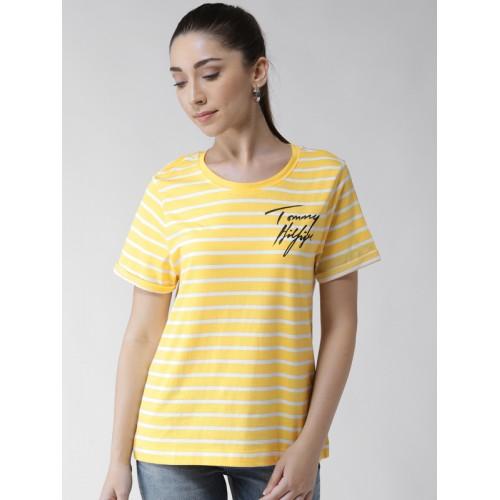 ccfd9f44211 ... Tommy Hilfiger Women Yellow & White Striped Round Neck T-shirt ...