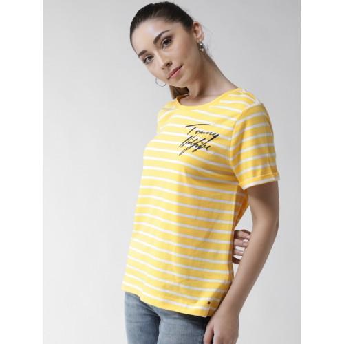 e2a9b384 ... Tommy Hilfiger Women Yellow & White Striped Round Neck T-shirt ...