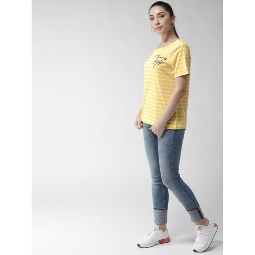 0c5fb971 Buy Tommy Hilfiger Women Yellow & White Striped Round Neck T-shirt ...