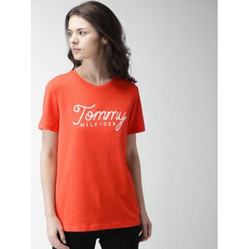 00292632 Buy Tommy Hilfiger Women Orange Printed Round Neck T-shirt online ...