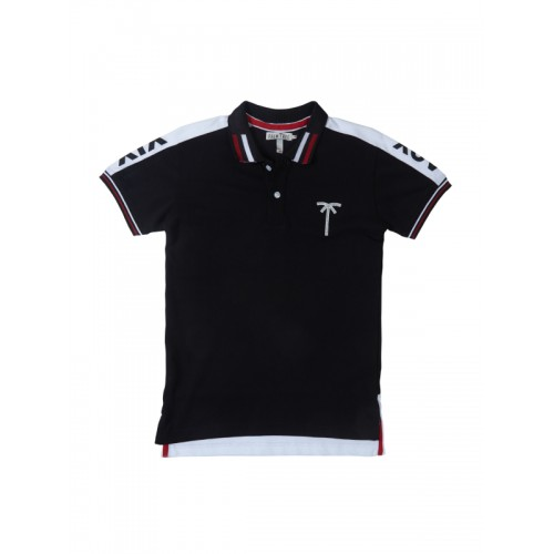 Palm Tree Black & White Cotton Solid Polo Collar T-shirt