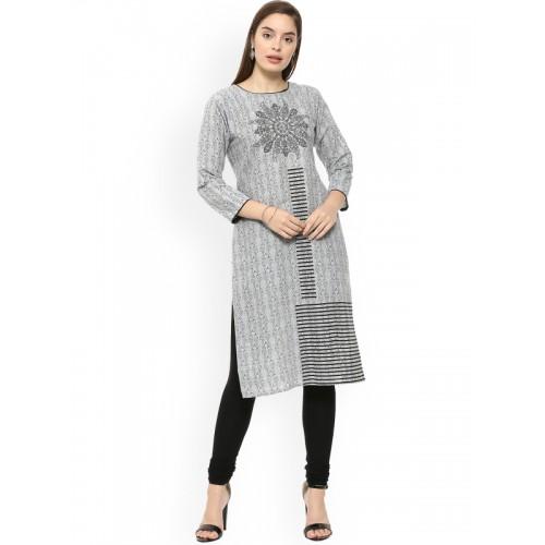 4d77093801bc Buy Soch Women Grey & Black Printed Straight Kurta online | Looksgud.in