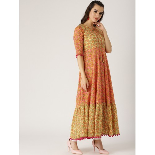 Libas Women Orange & Pink Cotton Printed Anarkali Kurta