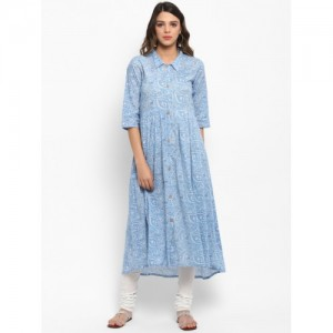 Janasya Women Blue Cotton Printed Anarkali Kurta