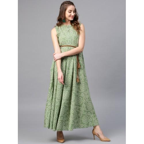 AKS Green Cotton Bandhani Print Maxi Kurta