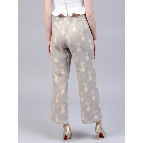 AKS Grey & Beige Printed Trousers