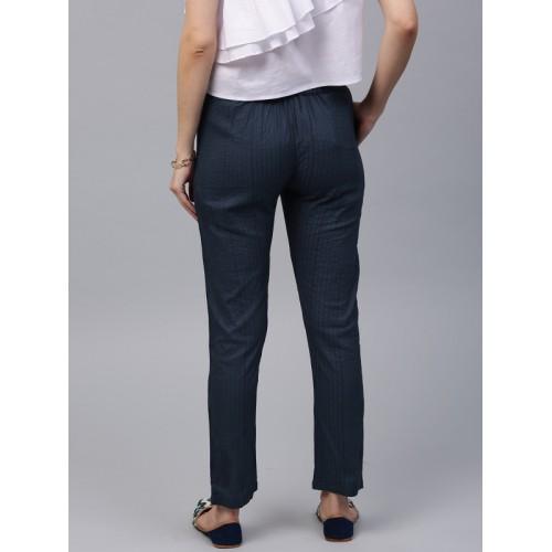 AKS Navy Blue Self-Striped Trousers