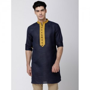 Svanik Men Navy Blue & Mustard Solid Straight Kurta